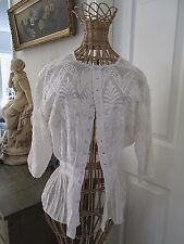 ANTIQUE EDWARDIAN LAWN AFTERNOON TEA BLOUSE WITH WHITE EMBROIDERY...