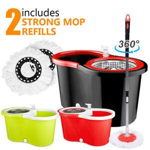 360° Spin Floor Mop & Bucket Set With 2 Mop Head Refills Floor Cleaner Cleaning