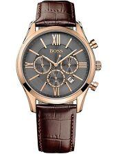 ORIGINALE Hugo Boss 1513198 Ambassador Cronografo Orologio Uomo Marrone/Rosso Oro Nuovo!