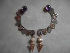 Vintage JULIE SHAW EARRINGS-Amethysts, Pearls, 14k Gold & Sterling
