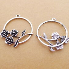 5pcs Round Charms Flowers Inside Tibetan Silver Bead DIY Pendant Necklace32*38mm