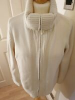 Marks And Spencers White Knitted 100% Cotton Cardigan Size 18 Nearly New