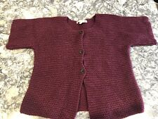 Bonpoint Girls Knit Cropped Short Sleeves Sweater Size 8 Maroon Burgundy