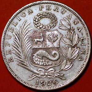 1/2 Sol 1926 silver Lima Peru KM#216  F394TO
