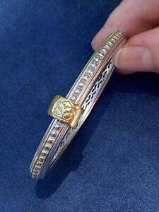 SLANE & SLANE Sterling Silver 925 and 18k Yellow Gold Column Bracelet, 36.2g