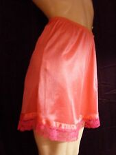 2 Pair Women's Hot Pink Lace Nylon Panty Pettipants Bloomers Size 11 Waist 31-41