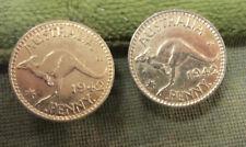 #D315. PAIR  OF GILT  CUFFLINKS MADE FROM AUSTRALIAN 1942 PENNY   COINS