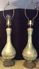 "Pair of Tall Tyndale 33"" Table Lamps Crystal & Cast Iron Mid Century"
