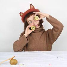 Ladies Cute Fox Ear Beret Caps Lolita Retro Genuine Barett Wool Warm Painter Hat