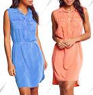 nuovo donna Lungo Camicia Senza Maniche Abito Blu Arancione Size 8 10 12 14