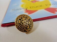 Vintage Sewing Button 1 Piece BLACK GOLD Metal 18 mm Shank