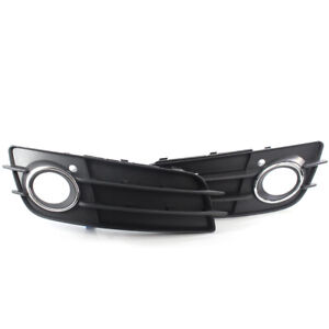 Front Fog Light Grille Cover Bezel w/Chrome Ring For Audi A4 S-LINE S4 2008-2012