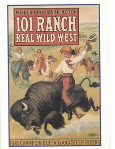 postcard cowgirls wild west Zon Publishing miller Bros & Arlington 101 Ranch