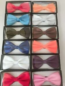 Bowtie Men Women Adjustable Formal Wedding Party Bow Tie Solid Color Tuxedo