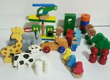 Mixed Lot Wooden Blocks Animals Cars Community Signs 30 pieces Pretend Play