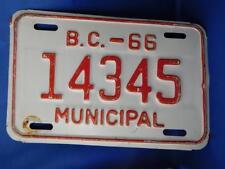 BRITISH COLUMBIA LICENSE PLATE MUNICIPAL 1966 14345  BC CANADA  VINTAGE SIGN