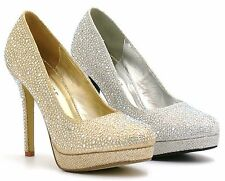 WOMENS LADIES HIGH HEEL SPARKLY DIAMANTE PARTY BRIDAL WEDDING COURT SHOES SIZE