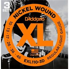 D'ADDARIO EXL110-3D NICKEL WOUND ELECTRIC GUITAR STRINGS - 3 PACK, LIGHT GAUGE