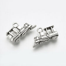 6 Train Charms Antiqued Silver Locomotive Conductor Pendants 3D 2 Sided 18mm