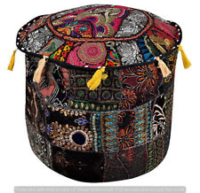 """18""""Round Ottoman Pouf Cover Embroidered Patchwork Bohemian Indian Decor pouf"""