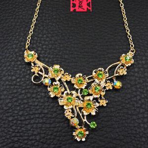 Betsey Johnson Women's Crystal Green Flowers Pendant Necklace