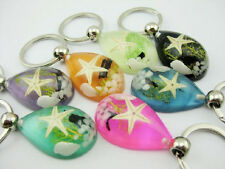 lots 8pcs vogue lucid design sea star sea shell stone grass XMAS key-chains