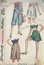 1949 Vintage Sewing Pattern W28 PEDAL PUSHERS & SHORTS (R823)