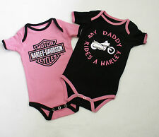 """Harley-Davidson Baby Girl """"My Daddy Rides a Harley"""" One-Piece 9-12M Infant"""