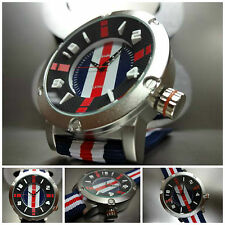 NEW Mens CASUAL SPORT MUSCLE MILITARY TRENDY FASHION Cool WRIST WATCH Blue & Red