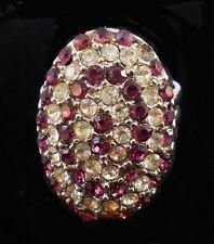 Vintage WHITE & ROSE Rhinestone Cluster Fashion Ring Size 6 Adjustable T3