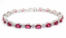 Sterling Silver Ruby And Diamond 7.86ct Tennis Bracelet (925)