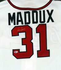Braves Greg Maddux Autographed White Majestic Jersey (Crooked) Beckett C29529