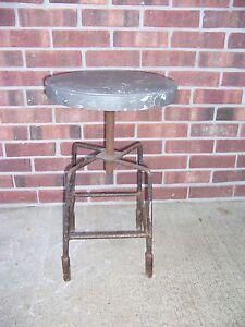 VINTAGE ADJUSTABLE WORK SHOP STOOL WITH PADDED SEAT