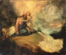 Le Christ mort supporté par un ange signé école espagnole XVII oui XVIII ?