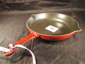 Staub Enameled Cast Iron Fry Pan Skillet 10 inch #26 Red Grenadine double spout