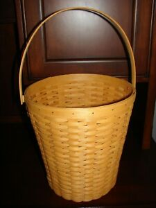 Longaberger Classic Stain Bankers Waste Basket Swing Handle Inverted Bottom