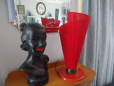 vintage retro mid century conical red cloth table lamp barsony