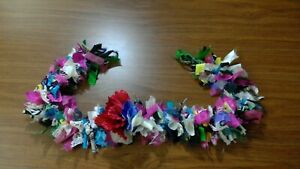 """TROPICAL Party Banner/Rag Garland with Green Grosgrain Ribbon Ties 34"""" PRIMITIVE"""