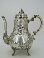 Vintage Ornate Sterling Silver Floral Baroque Scroll Repousse Coffee Pot