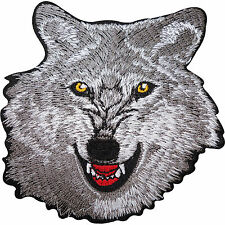 Grey Wolf Head Embroidered Iron Sew on Patch Clothes T Shirt Jeans Jacket Badge