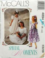 Girls Party Wedding Church Communion Dress Sewing Pattern 4894 McCalls Size 5
