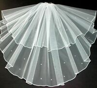 Crystal Veil Wedding Any Length Or Colour 2 Tier Sparkle Edge LBV145 LBVeils UK