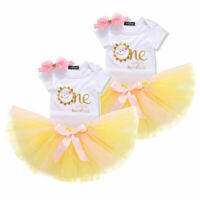 US Infant Baby Girls Romper Tops+Tulle Tutu Dress Skirt Outfits Clothes 3PCS 1Y