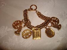"COLLECTIBLE HUGE CHARMS 31RUE CAMBON PARIS CHANEL CHAIN GOLD TONE BRACELET 8"""