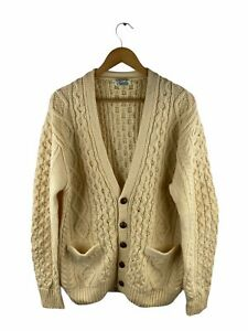 VINTAGE Smith's of Bermuda Button Up Knit Cardigan Mens Size 42 Beige 100% Wool
