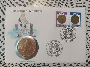 1990 GIBRALTAR HERCULES £5 Five POUNDS COIN BRILLIANT UNCIRCULATED Cover Stamps