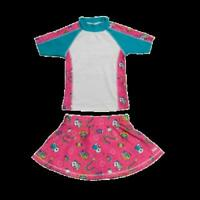 Girls UV Swimwear Short Sleeve Rashguard Set