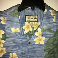 Jamaica Jaxx Hawaiian Blue Green Floral Print Button Front Silk Shirt Mens Large