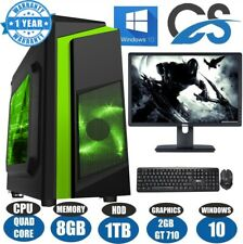 "ULTRA FAST Quad Core Gaming PC Tower Bundle 8GB 1TB HDD 19"" SCREEN CiT F3 LED"