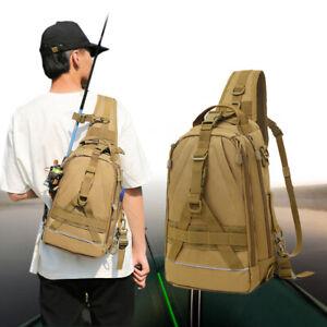 Fishing Tackle Bag Nylon Outdoor Water-Resistant Sling Reel Lure Shoulder Bag